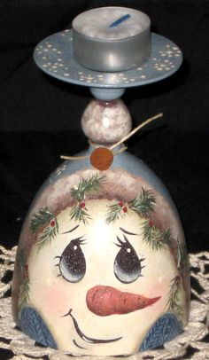 Handpainted vintage wine glass with snowman face by KathysKountry, $14.00