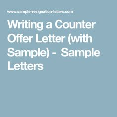 Writing a counter offer email examples