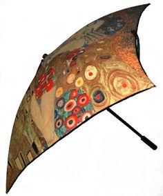 "Square Artistic Umbrella  Klimt : ""The kiss"""