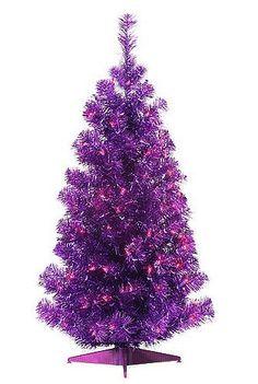 3 Foot Purple, Pre-Lit Metallic Tinsel Pine Christmas Tree by Purpletopia