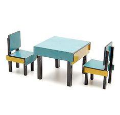Two chairs and a table in the de Stijl style design Ko Verzuu 1925 executed by ADO / Arbeid Door Onvolwaardigen Berg en Bosch / the Netherlands