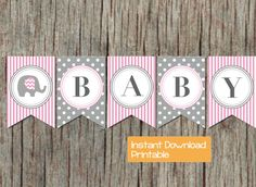 Pink and Grey Elephant Baby Shower Banner by BumpAndBeyondDesigns, $6.00