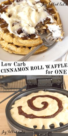 Perfect when one waffle is just enough! Low Carb THM S Gluten Grain Free Keto Friendly. Cinnamon Roll Waffle for One with Cream Cheese Icing Desserts Keto, Keto Snacks, Cinnamon Roll Waffles, Keto Cinnamon Rolls, Waffle Maker Recipes, Comida Keto, Keto Waffle, Low Carb Sweets, Sans Gluten