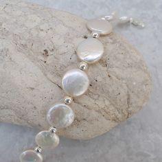Coin Pearl & Sterling Silver Bracelet   £28.00