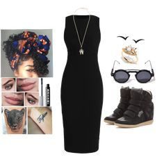 Black Beetle 06.05.2018 - AllSaints TYNE DRESS - Jumper dress Colour: black £150 - ISABEL MARANT Etoile Bekett leather and suede wedge sneakers £395 - RED VALENTINO beetle pendant necklace £230 - GISELE FOR ESHVI 'Fly with Me' earrings £563 - Triple black earrings - Spitfire AURORA CLIP ON SUNGLASSES £43 - EYE TO EYE RING £6