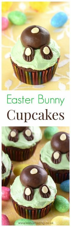 Cute and easy Easter Bunny Cupcakes recipe - these funny bunny butt cakes are really easy to make and kids love them - what a fun Easter treat!