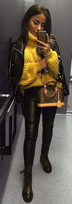 #spring #outfits yellow knit sweater. Pic by @questionlook
