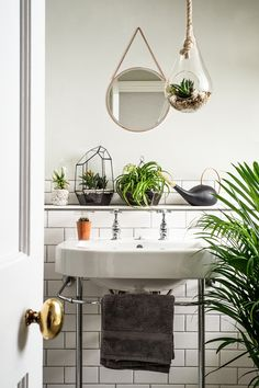 House plants used as decor for light bathroom with round mirror