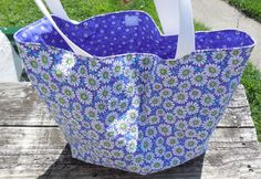 Tote Bag Fabric Tote Daisy Eco Friendly Reusable by GabbysQuilts
