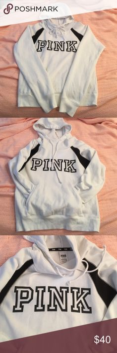 PINK VS funnel neck hoodie ➡️PINK VS white and black hoodie ➡️Women's size medium ➡️Excellent condition  ➡️No stains, no peeling, no damage ➡️Super soft & comfortable NO TRADES Bundle discounts ❤️Reasonable offers only please❤️ PINK Victoria's Secret Tops Sweatshirts & Hoodies