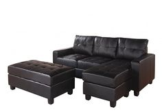 Shop Acme Furniture Lyssa Black Reversible Chaise Sectional and Ottoman with great price, The Classy Home Furniture has the best selection of Sectionals to choose from Faux Leather Sofa, Leather Sectional Sofas, Chaise Sofa, Bonded Leather, Couches, Sleeper Sectional, Chaise Lounges, Wooden Couch, Oversized Ottoman