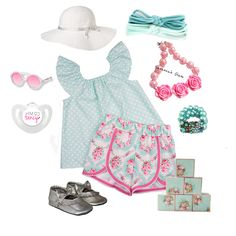 """You can't go wrong with #pink and #aqua!  Love this #ootd featuring the Paisley Lane top and shorts sets and matching accessories!  Outfit can be found in my shop under """"top/shorts outfits"""""""