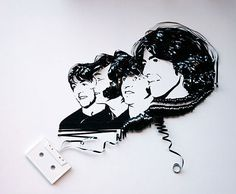 cool the beatles made out of tape art