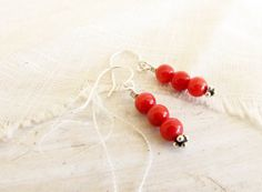 Red Coral Sterling Silver Dangle Earrings Round Coral by Readesign, $14.00