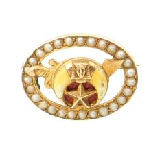 Antique Shriners Pin in 14K Gold with Seed by EncoreJewelryandGems