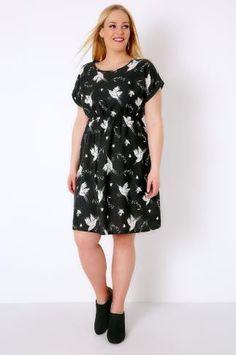 Skater Dresses Black & White Bird Print Skater Dress With Short Turn-Back Sleeves 136015