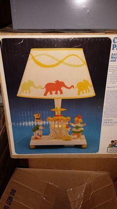 Vintage Animated Musical Lamp and Nitelite in Original Box -- Circus Parade
