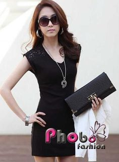 Phobo Fashion Schwarz Spitze Stitching koreanische Style 2012 Kleid mit Gürtel  Bestell-Nr.asf2738  Herst.Nr: #4016    If you like this Product, please feel free to repin. We will offer 10% discount for every product you repin. we deliver worldwide only 4,90€ shipping cost, any questions? just write on comments 22,90€