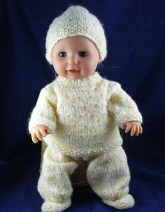 """Spring Outfit for Tiny Tears or similar sized 16"""" Doll - http://www.nixneedles.co.uk/Hobbies/Knitting/Knitting-Patterns-Designs/Knitted-Dolls-Clothes/Spring-Baby-Outfit-for-16-Doll"""