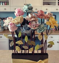 Varrott textil rózsák faág szárral - textil virág csokor