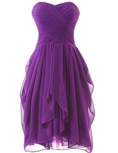 Olidress Women's Short Ruched Chiffon Bridesmaid Dress Party Dress Purple US4