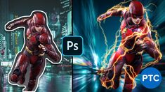 In today's Copycat Wednesday, I'm going to show you how to recreate the lightning from the running scenes in the Flash TV show. Photoshop Video, Free Photoshop, Photoshop Training, Captain America Logo, Lighting Techniques, The Flash, Copycat, Lightroom, Lightning