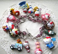 Hello Kitty Charm Bracelet Style 17 by zebracakes Cute Bracelets, Fashion Bracelets, Charm Bracelets, Silver Bracelets, Diamond Crown Ring, Hello Kitty Jewelry, Kawaii Jewelry, Hello Kitty Collection, Mint Chocolate Chips