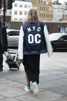 Showing off a little NYC pride. Street Style London Fashion Week #LFW