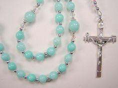 "Womens Aqua Jade Rosary Catholic Genuine Aqua Jade Gemstone Beads 16 3/4"" Las Mujeres  Rosario Free Shipping USA by TheGemBeadLink on Etsy"