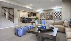 This finished basement in Stafford, VA, was designed for entertaining | Donovan plan by Richmond American