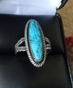 Navajo sterling turquoise ring  6 half Native American Jewelry Native American ring  vintage turquoise Texas Navajo estate jewelry Arizona by LittleCherokeeValley on Etsy