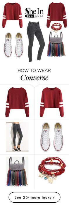 """Burgundy Varsity Striped Sleeve Crop T-shirt in SheIn!"" by anisimova-i on Polyvore featuring Converse and Chicnova Fashion"