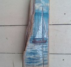 Reflections.... A peaceful day sailing on the water. This Driftwood Art was painted by me. Stands upright. 4 1/2 x 13 1/2 x 2 1/4. Please see my shop with Nursery and Childrens Décor at: www.etsy.com/shop/sereincs