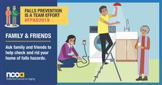 Today is Falls Prevention Awareness Day. Preventing falls is a team effort. Ask your loved ones to check your home and help you remove fall hazards. Get more tips on preventing falls at Social Media Images, Healthy Aging, Injury Prevention, Medical Advice, Caregiver, Public Health, Medical Conditions, Pediatrics, A Team