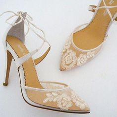 699cbf590879 Anita Ivory Lace Wedding Shoes Feminine