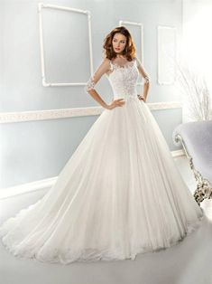 970680e7809bf Luxury 2014 Collection Sexy Illusion Neckline Detachable Beaded Sash  Applique Tulle A-line Wedding Dresses Ivory/White Bridal Gowns 7653