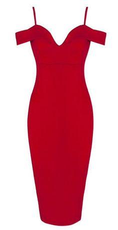 Hayley Red Sexy Neckline Dress