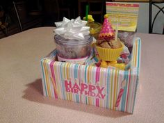 Birthday Gift for teacher  -Drink cups filled with drinks, treats, fun card