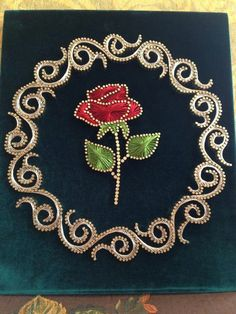 Embroidery On Paper A beautiful string and nail art rose such talent homedecoraccessories – Artofit String Art Diy, String Crafts, Rose Nail Art, Nail Art Diy, Arte Linear, String Art Patterns, Art Du Fil, Thread Art, Paper Embroidery