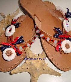 handmade greek sandals Greek Sandals, Palm Beach Sandals, Leather Sandals, Glass Beads, Navy Style, Handmade Leather, Ribbons, Lava, Stones