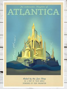 Retro Travel Poster Disney Atlantica MANY by TeacupPiranha