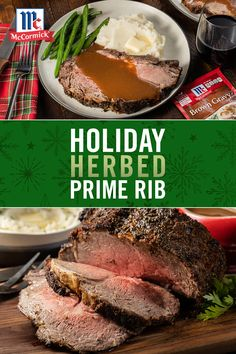 It's officially the start of holiday season! What better way celebrate than with deliciously flavorful herbed prime rib with brown gravy? This holiday dinner idea takes minimal ingredients to prepare before slow roasting. Pro Tip: coat with a delicious se Roast Beef Recipes, Rib Recipes, Cooking Recipes, Crockpot Recipes, Recipies, Beef Dishes, Food Dishes, Main Dishes, Enchiladas