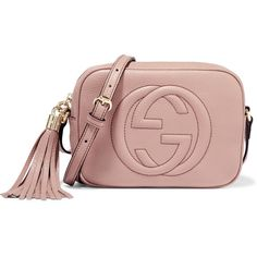 Gucci Soho Disco textured-leather shoulder bag ($915) ❤ liked on Polyvore featuring bags, handbags, shoulder bags, pink, cell phone shoulder bag, pink purse, shoulder hand bags, gucci and zipper handbag