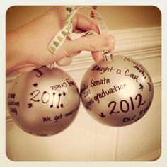 a friend of mine did this with her husband. They wrote some special things they did together that year on ornaments. <3