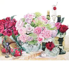 柘植彩子 水彩画 薔薇の靴