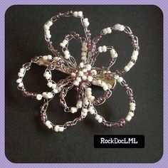 Clear Purple and Pearl White Wire Crochet Hair Pin by RockDocLML on Etsy https://www.etsy.com/listing/240644306/clear-purple-and-pearl-white-wire