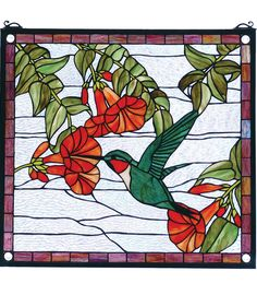 Sweet Hummingbird Stained Glass Panel