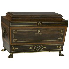 Rare Regency Brass Inlaid Rosewood Tea Caddy with Secret Drawer