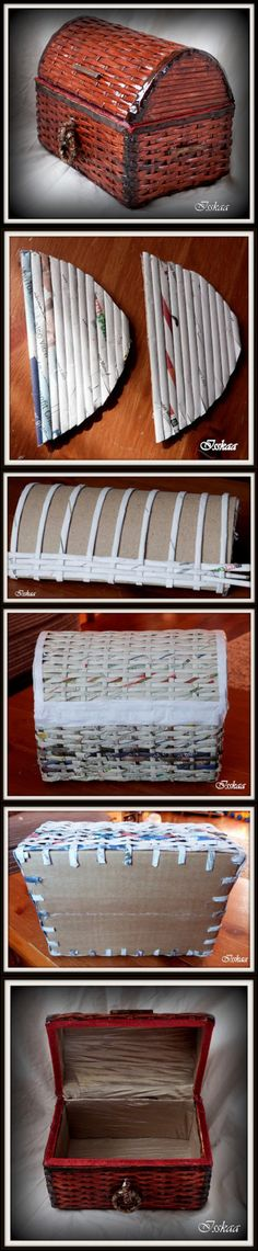 Cardboard crafts Useful - How to DIY Coffer Use Paper Wicker Newspaper Basket, Newspaper Crafts, Recycled Crafts, Diy And Crafts, Arts And Crafts, Wood Crafts, Cardboard Furniture, Cardboard Crafts, Cardboard Playhouse