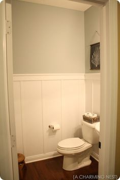 pretty sure I want this board and battan in the front bathroom with Sherwin Williams Silver Sage paint